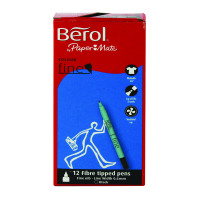 Berol Black Water-Based Colourfine Pens Wallet (Pack of 12) S0376300