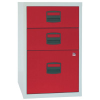 Bisley 3 Drawer A4 Home Filer Grey/Red (Dimensions: W413 x D400 x H672mm) PFA3-8794