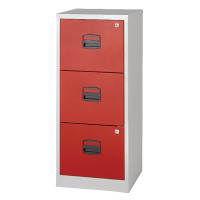 Bisley A4 Homefiler 3 Drawer Grey Red BY78728
