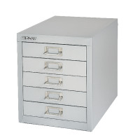 Bisley Non-Locking Multi-Drawer Cabinet 5 Drawer Silver BY91779