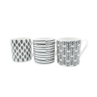 11oz Squat Mugs Dots and Stripes Black and White (Pack of 12) P1160119