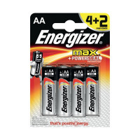 Energizer MAX E91 AA Batteries (Pack of 4) + 2 Free) E300142800