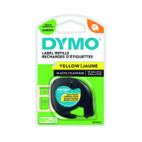Dymo 91202 LetraTAG Plastic Tape 12mm x 4m Yellow S0721620