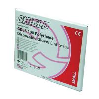 Shield Embossed Polythene Gloves For Black Dispenser Large (Pack of 100) GD55