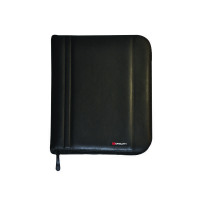 Monolith Black Leather-Look Zipped A4 Folio Case 2754