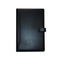 Monolith Leather-Look PU Conference Folder With A4 Pad Black 2900