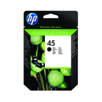 HP 45 Black Inkjet Cartridge (Standard Yield, 42ml) 51645AE