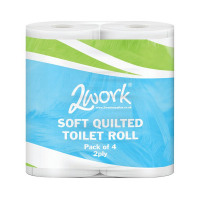 2Work Luxury White 2-Ply Quilted Toilet Roll (10 Packs of 4) DQ4Pk