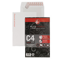 Plus Fabric White C4 Board Backed Envelopes 120gsm Peel and Seal Retail (Pack of 15) R10053