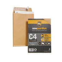 New Guardian Envelope C4 130gsm Gusset Peel and Seal Plain Manilla Pack of 10 16-BUK-007