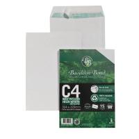 Basildon Bond Envelope C4 100gsm Peel and Seal Recycled Plain White Pack of 15 16-BUK-004