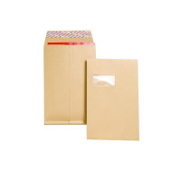 New Guardian Gusset C4 Window Envelopes 130gsm Manilla Peel and Seal (Pack of 100) J27366