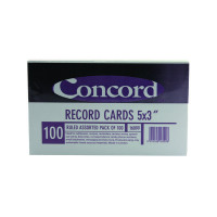 Concord Record Card Ruled 127 x 76mm Assorted (Pack of 100) 16099/160