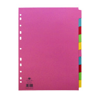 Concord 10-Part 5-Colour Dividers A4 Assorted 72099/J20