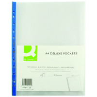 Q-Connect Delux Punched Pocket Top Opening Blue Strip A4 Clear (Pack of 25) KF01122