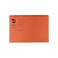 Q-Connect Orange Square Cut Folder Medium Weight 250gsm Foolscap (Pack of 100) KF01188