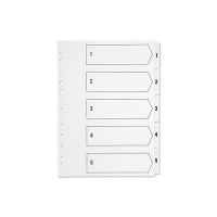Q-Connect Multi-Punched 1-5 Polypropylene White A4 Index KF01352