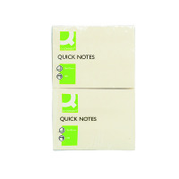 Q-Connect Repositionable 76 x 102mm Yellow Quick Notes (Pack of 12) KF01410