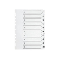 Q-Connect Multi-Punched 1-10 Reinforced White Board Clear A4 Index Tabbed KF01528