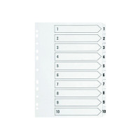 Q-Connect 1-10 Index Multi-Punched Reinforced Board Clear Tab A4 White KF01528