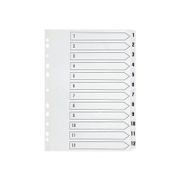 Q-Connect 1-12 Index Multi-Punched Reinforced Board Clear Tab A4 WhiteKF01529