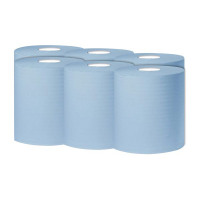 2Work Blue 1 PlyCentrefeed 300 Metre Roll (Pack of 6) KF03803