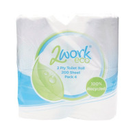 2Work White 2-Ply Toilet Roll 200 Sheets (Pack of 36) KF03809