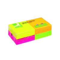 Q-Connect Repositionable 76 x 76mm Neon Quick Notes (Pack of 12) KF10508
