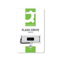 Q-Connect Silver/Black USB 3.0 Slider 64Gb Flash Drive 43202005 KF16371