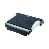 Q-Connect Black and Silver Foot Rest With Carpet KF20075