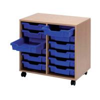 Jemini Mobile Storage Unit 12 Blue Trays Beech KF72339