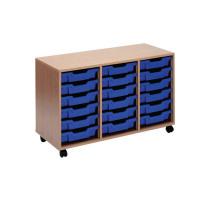 Jemini Mobile Storage Unit 18 Blue Trays Beech KF72340