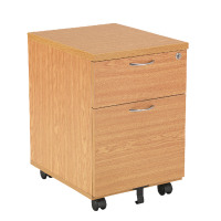 First Mobile Under Desk Pedestal 2 Drawer Oak KF74914