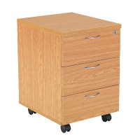 First Mobile Under Desk Pedestal 3 Drawer Oak KF74916