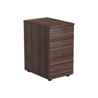 Jemini Walnut 3 Drawer Desk High Pedestal D600 KF78948