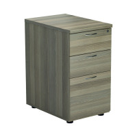 Jemini Grey Oak 3 Drawer Desk High Pedestal D600 KF78949