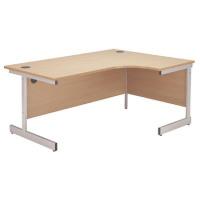 Jemini Beech/Silver 1200mm Right Hand Radial Cantilever Desk KF838042