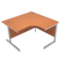 Jemini Oak/Silver 1200mm Right Hand Radial Cantilever Desk KF838043