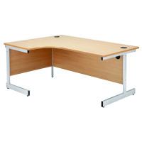 Jemini Beech/Silver 1600mm Left Hand Radial Cantilever Desk KF838045