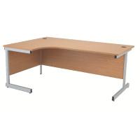 Jemini Oak/Silver 1600mm Left Hand Radial Cantilever Desk KF838046