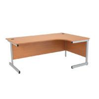 Jemini Oak/Silver 1600mm Right Hand Radial Cantilever Desk KF838049