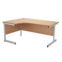 Jemini Beech/Silver 1800mm Left Hand Radial Cantilever Desk KF838051