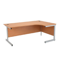 Jemini Oak/Silver 1800mm Right Hand Radial Cantilever Desk KF838055
