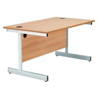 Jemini Beech/Silver 1600mm Rectangular Cantilever Desk KF838078