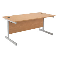 Jemini Oak/Silver 1800mm Rectangular Cantilever Desk KF838082