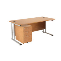 First Rectangular Desk and Pedestal Bundle 1600mm and 3 Drawer Under Desk Pedestal Beech KF838158