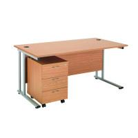 First Rectangular Desk and Pedestal Bundle 1600mm and 3 Drawer Under Desk Pedestal Oak KF838159