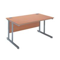 Jemini Intro 1500mm Rectangular Cantilever Desk Bavarian Beech KF838517