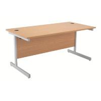 Jemini Oak/Silver 1400mm Rectangular Cantilever Desk KF838783