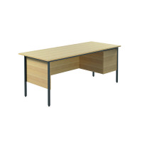 Jemini Intro 4 Leg Desk 1800mm With 2 Drawer Pedestal Ferrera Oak KF838798